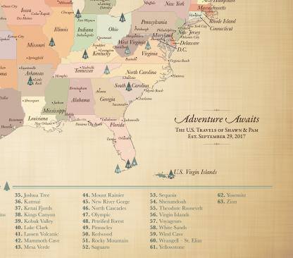 Adventure Awaits US National Parks map