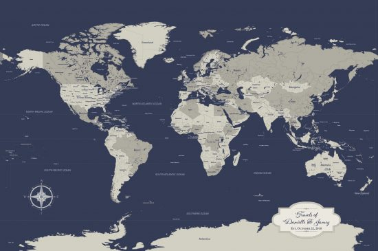 navy push pin world map