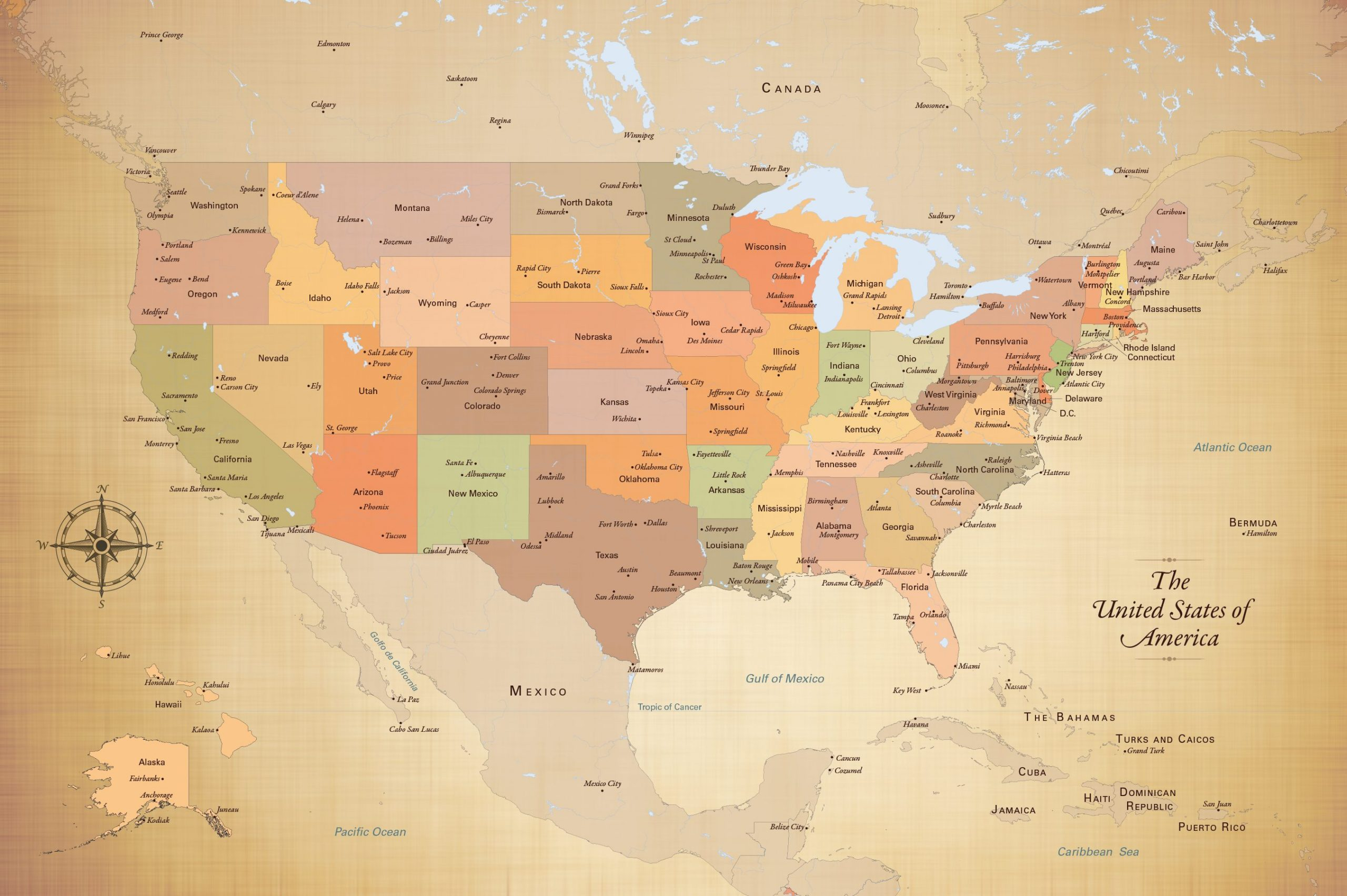 Picture of: United States Push Pin Map With City Detail And 100 Map Pins 24 X 36