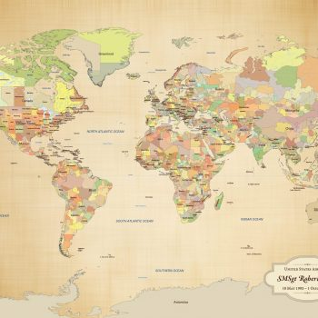 military push pin world map