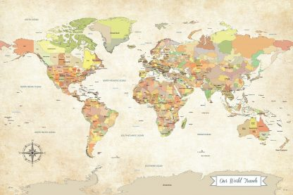 our world travels push pin map