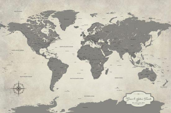 gray personalized world map