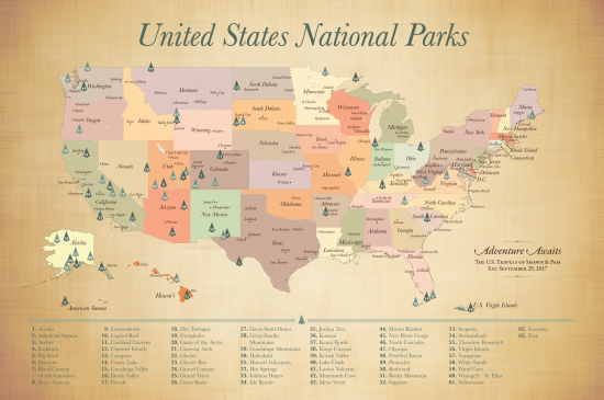 63 US National Parks Map
