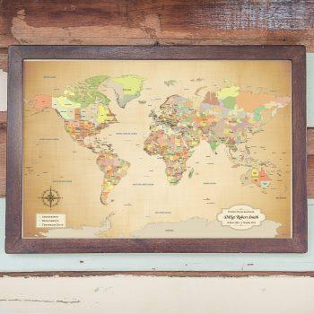 military world map push pin map