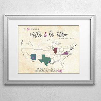 mother and children long distance family map