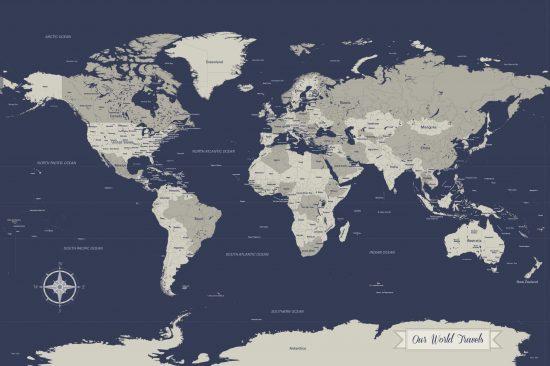 Navy push pin map