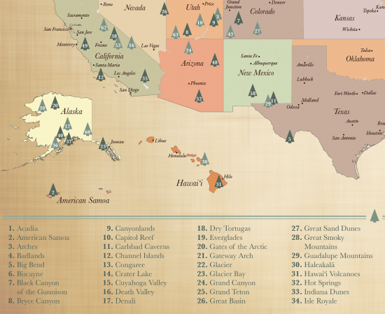 US National Parks Map with map pins