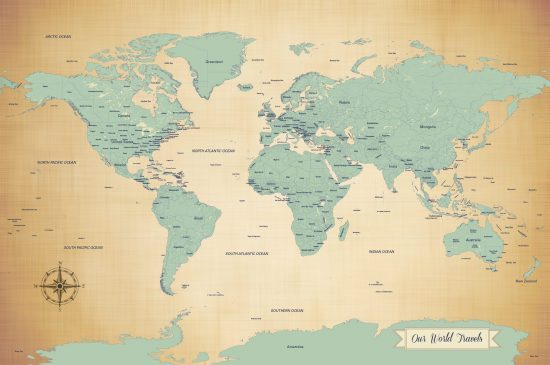 Our world travels blue map