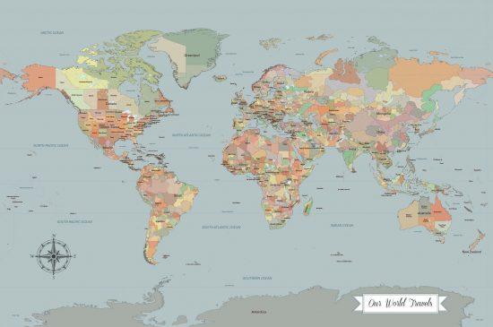coastal blue push pin world map