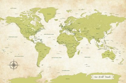 Chartreuse green world map