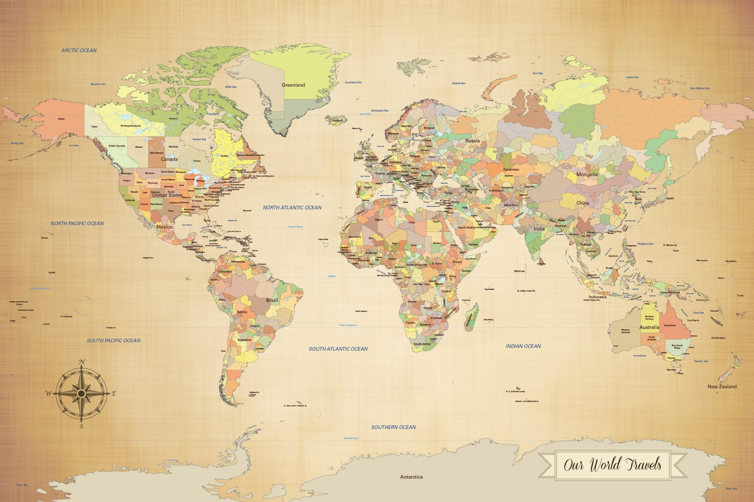 our world travels antique style map