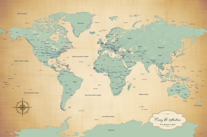 antique blue personalized map
