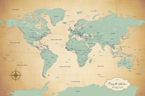 antique blue personalized map