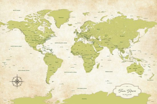 vintage green world map