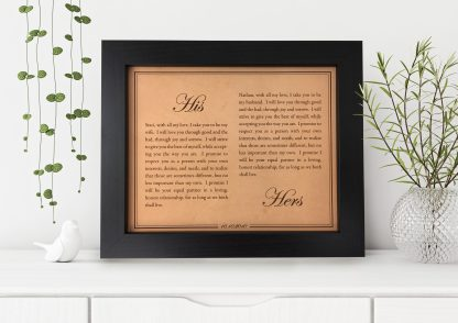 his and hers wedding vows art on leather