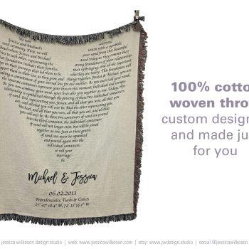 cotton anniversary gift woven throw