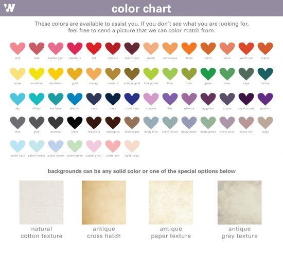color chart options JW Design Studio Gifts