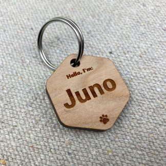 simple cherry wood dog tag