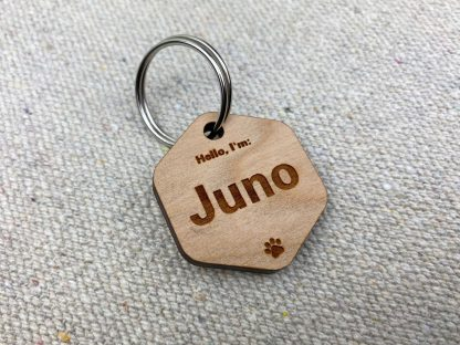 simple cherry wood dog tag
