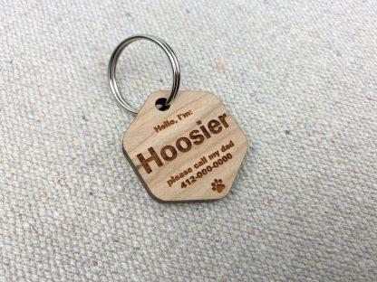 hexagon shape wood dog ID