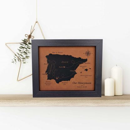 personalized faux leather map