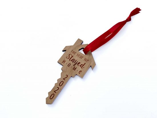 a laser engraved house key ornament