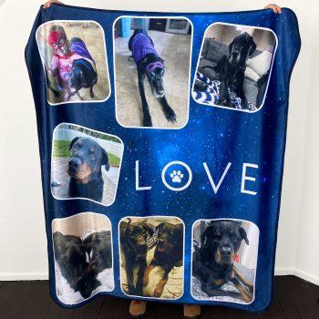 personalized dog photo blanket fleece