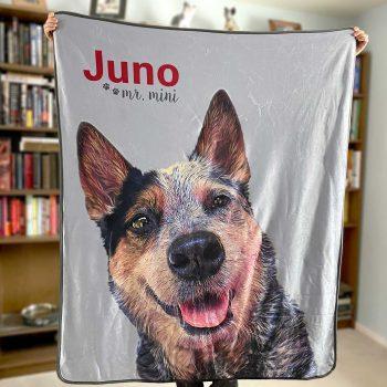 personalized pet art photo fleece blanket