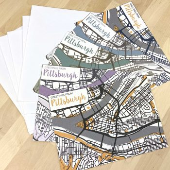 set of 5 pittsburgh greeting cards