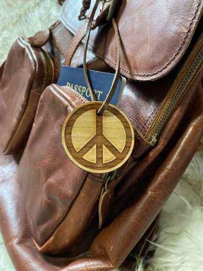 peace sign wood luggage tag
