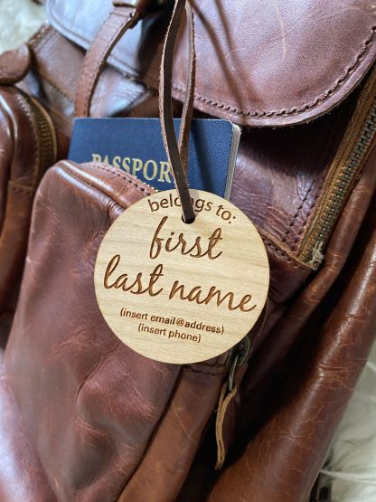 wood bag tag accessory