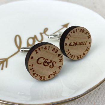 wood cuff links wedding