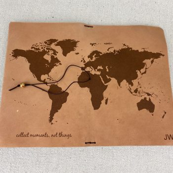 world map leather journal personalized
