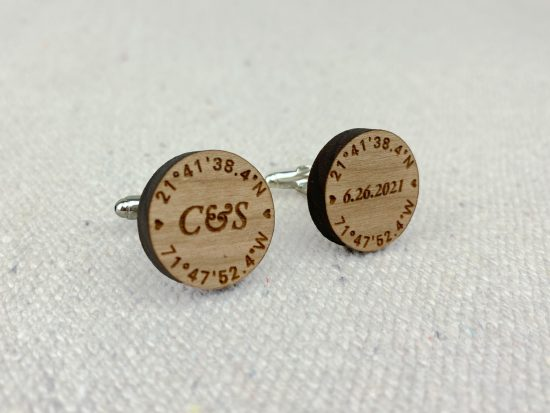 personalized wood cuff links