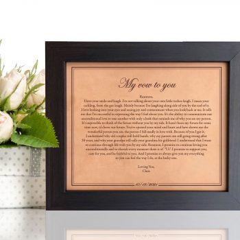 wedding vows engraved framed gift