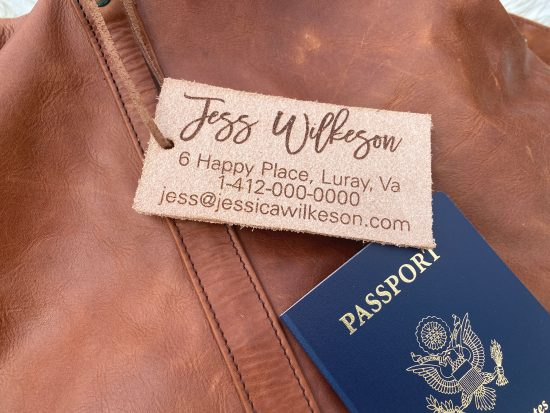 rustic leather luggage tag personalized