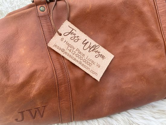 rustic cottagecore leather luggage tag